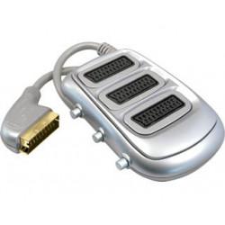 Conmutador de euroconectores 1 entrada - 3 salidas. Cable de 35mm. Mod. CON111