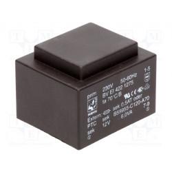 Transformador cerrado 6VA 230VCA 12V 500mA PCB. Mod. BV EI 422 1275