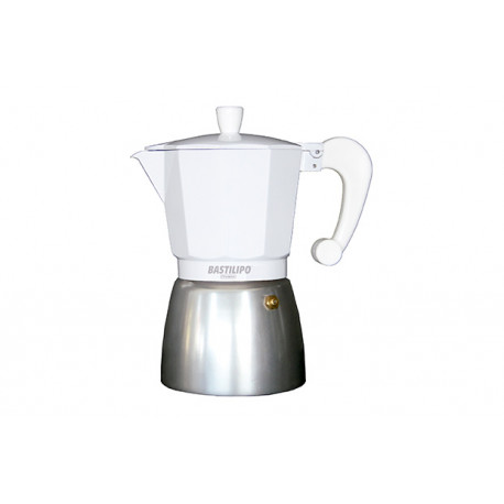 Cafetera Italiana 12 tazas blanca Bastilipo. Mod. COLORI-12-BLANCA